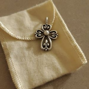 Cross of Adoration Pendant with Cultured Pearl